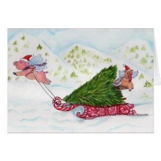Tarjeta Cerdos del vuelo que traen a casa el árbol de
