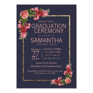Tarjeta Ceremonia de graduación floral rosada del oro de