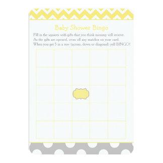 Tarjeta Chevron amarillo y gris/bingo de la fiesta de