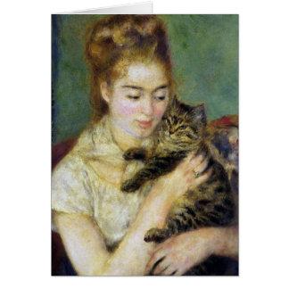 Tarjeta Chica con el gato por Renoir