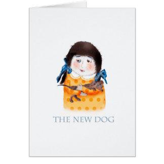 Tarjeta Chica con el nuevo perro del dachshund