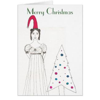 Tarjeta Chica de Jane Austen, gorra flojo del navidad,