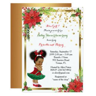 Tarjeta CHICA de la fiesta de bienvenida al bebé, navidad,