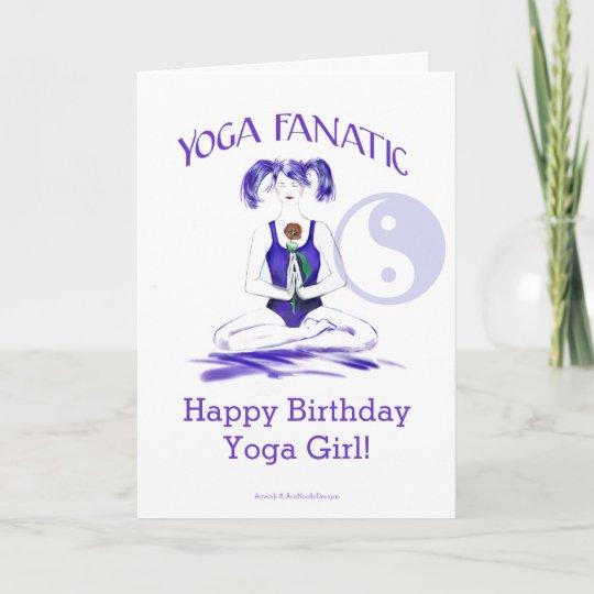 Tarjeta Chica De La Yoga Del Feliz Cumpleanos Fanatico Zazzle Es