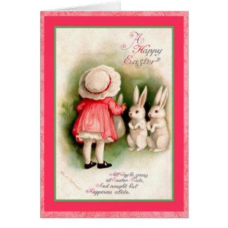 Tarjeta Chica de Pascua del vintage y conejitos blancos