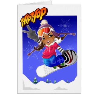 Tarjeta Chica del dibujo animado de Hip Hop en snowboard