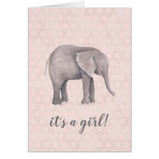 Tarjeta Chica del elefante con el fondo geométrico rosado
