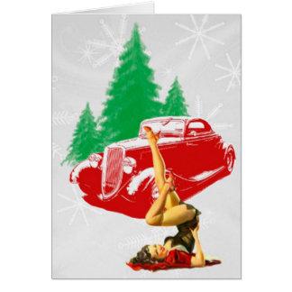 Tarjeta Chica del Pin-Para arriba del navidad y coche