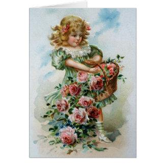 Tarjeta Chica del Victorian de los rosas de los saludos de