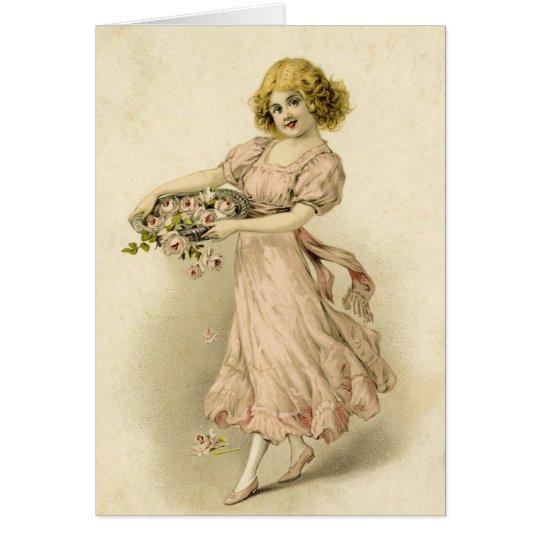 Tarjeta Chica del vintage con los rosas