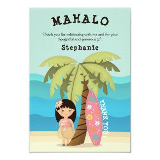 Tarjeta Chica hawaiano de la persona que practica surf