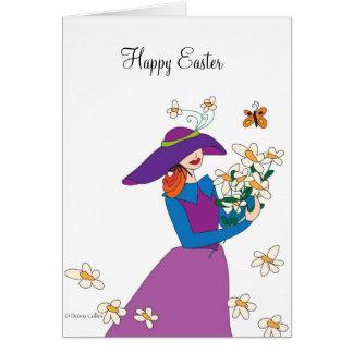 Tarjeta Chica púrpura de Pascua del vestido