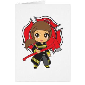 Tarjeta Chica trigueno del bombero de Kawaii