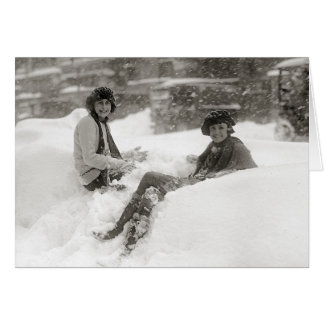 Tarjeta Chicas en la nieve, 1922