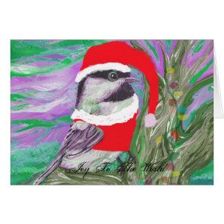 Tarjeta Chickadee vestido como Santa en un árbol