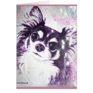 Tarjeta Chihuahua de pelo largo