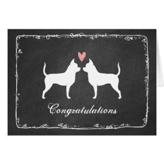 Tarjeta Chihuahuas que casan enhorabuena