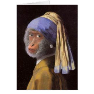 Tarjeta Chimpancé con el pendiente de la perla