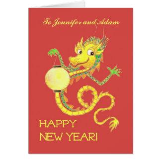 Tarjeta china adaptable del Año Nuevo del dragón
