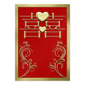 Tarjeta china de la invitación del boda