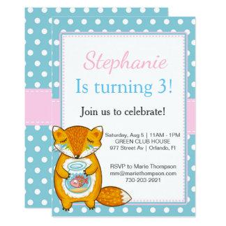 Tarjeta Chipmunk Birthday invitation kid child boy girl