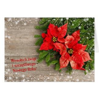Tarjeta Chrismas polaco - árbol de navidad con los
