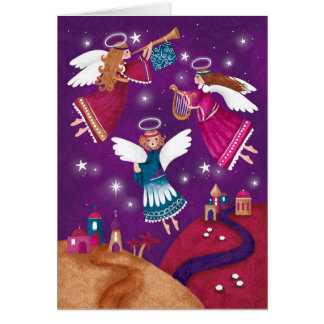 Tarjeta Chritmas religioso moderno, tres ángeles