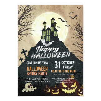 Tarjeta Cielo nocturno fantasmagórico Halloween del traje