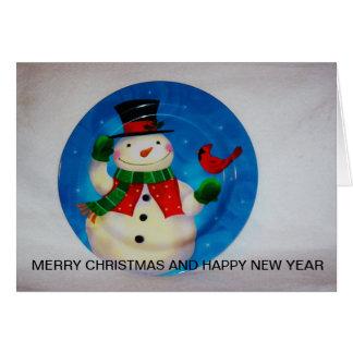 Tarjeta Cierre brillante del tiro del muñeco de nieve para