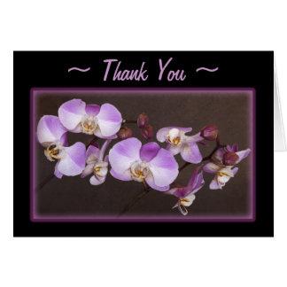 Tarjeta Cierre violeta y blanco de la orquídea encima de