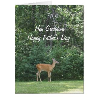 Tarjeta Ciervos felices   del día de padre del nieto