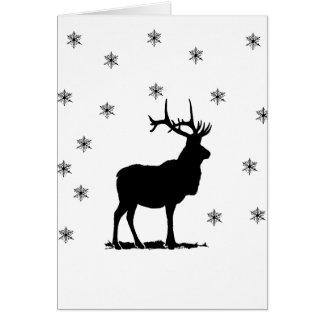 Tarjeta Ciervos y copos de nieve