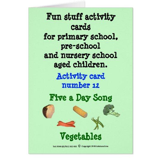 Tarjeta Cinco al día - verduras