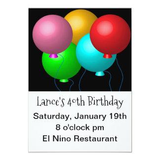 Tarjeta Cinco globos del cumpleaños