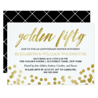 Tarjeta Cincuenta 50.a cena de oro del aniversario del