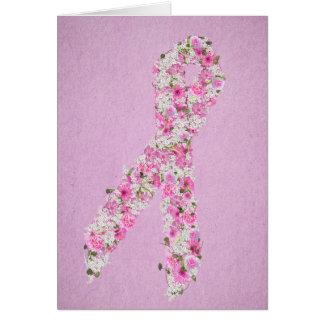 Tarjeta Cinta floral rosada de la conciencia del cáncer de