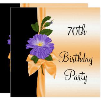 Tarjeta Cinta púrpura elegante 70.a de la flor y del