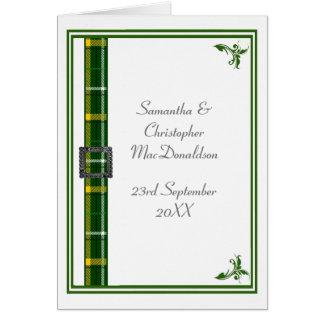 Tarjeta Cinta verde y blanca 2 del tartán