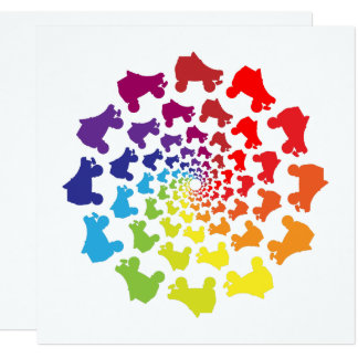 Tarjeta círculo del arco iris del rollerskate