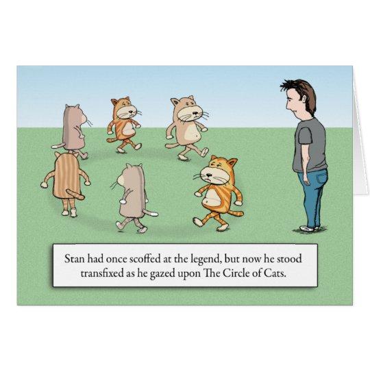 Tarjeta Círculo divertido del cumpleaños de los gatos