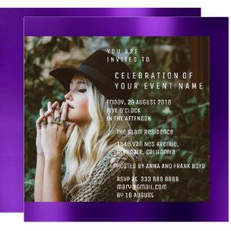 Tarjeta Ciruelo púrpura de la fiesta de graduación nupcial