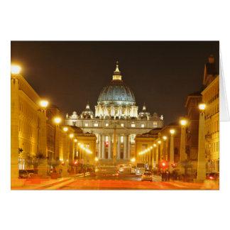 Tarjeta Ciudad del Vaticano, Roma, Italia en la noche
