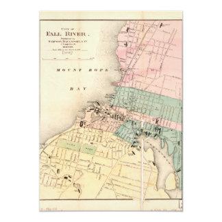 Tarjeta Ciudad mapa de Fall River, Massachusetts (1874)