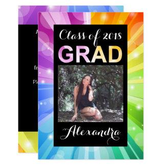 Tarjeta Clase vibrante del arco iris de la graduación 2018