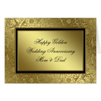Tarjeta clásica del aniversario de boda de oro