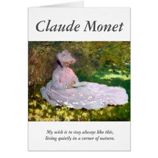 Tarjeta Claude Monet que lee cita del artista de la