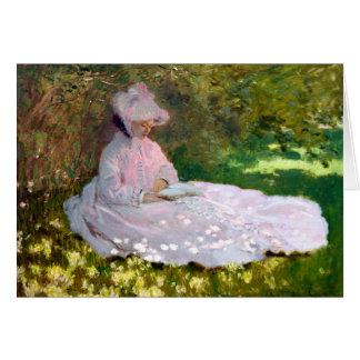 Tarjeta Claude Monet que lee la pintura de la primavera de