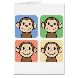 Tarjeta Clip art del dibujo animado con 4 monos felices