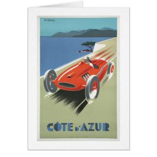Tarjeta Coche de carreras del vintage de Cote d Azur