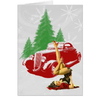 Tarjeta Coche de carreras y Pin encima del navidad